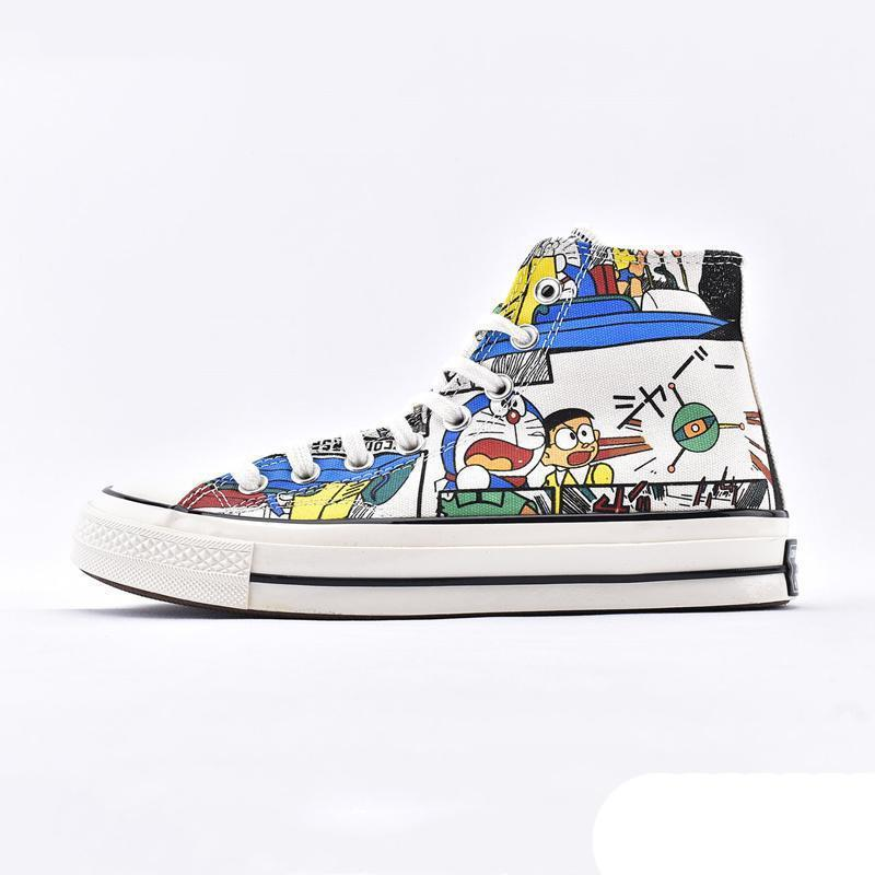 NEW Jingle Cat 1970s Canvas Shoes Cartoon Beige High Graffiti Joint Couple Women Casual Classic Skateboard Training Sneakers Chaussures