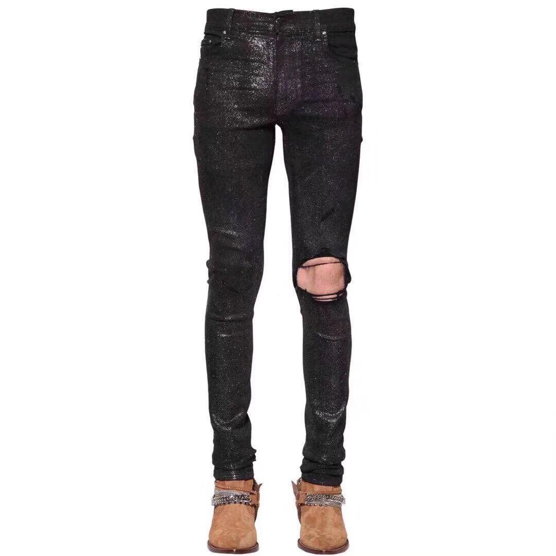 2020SS sólida Estilo clássico da moda vestir preto BRILHO MOTOCICLISTA DE GANGA CALÇA DISTRESSED água diamante ZEBRA STRIPES SUPERIORES jeans tamanho 28-36