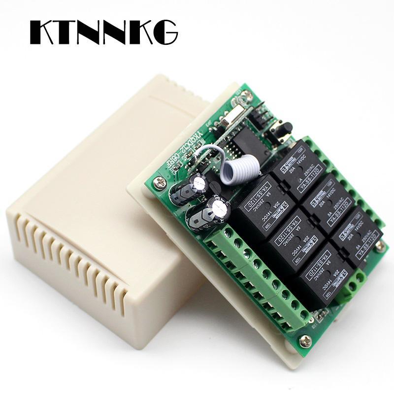 힙 원격 KTNNKG DC 12V 6CH 6 버튼 RF 송신기 DRO 원격 릴레이 모듈 무선 라이트 스위치 수신기 제어 433은 제어 ...