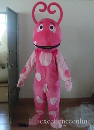 2018 Hochwertiges Licht und leicht, ein rosaes Insekt Maskottchen Kostüm mit weißen Flecken zum Verkauf tragen