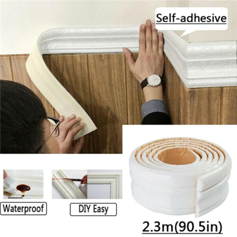 Hot Wall Trim Line Skirting Border 3D Pattern Sticker Decor Self Adhesive Waterproof Strip for Home D6