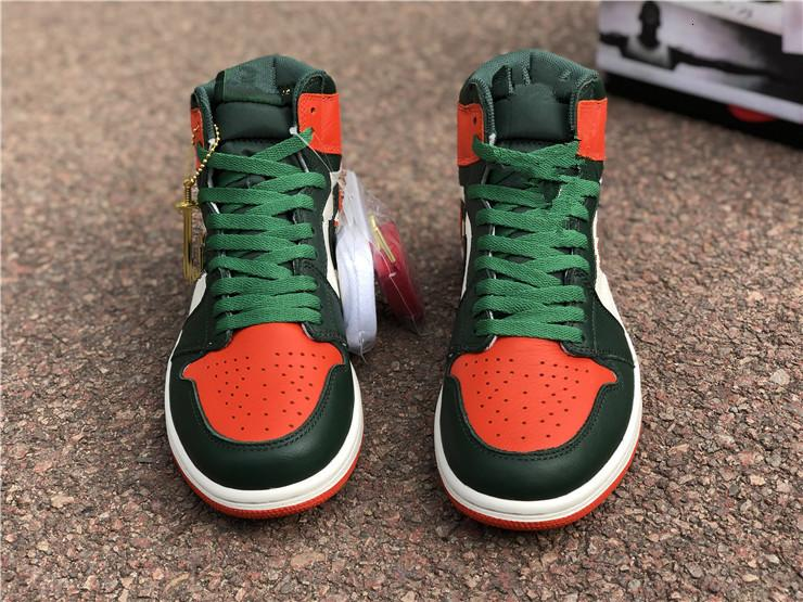 New 1 I High OG Solefly green orange Men Basketball Shoes 1s sneakers sports outdoor trainers with box 2019 SIZE 8-13