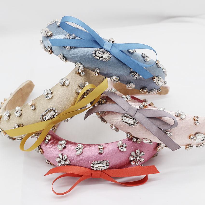 Barock Mode Luxus Ball Stirnband Stirnband Haarband Bogen Stirnband Strass weibliche Mädchenhaarzusätze 965
