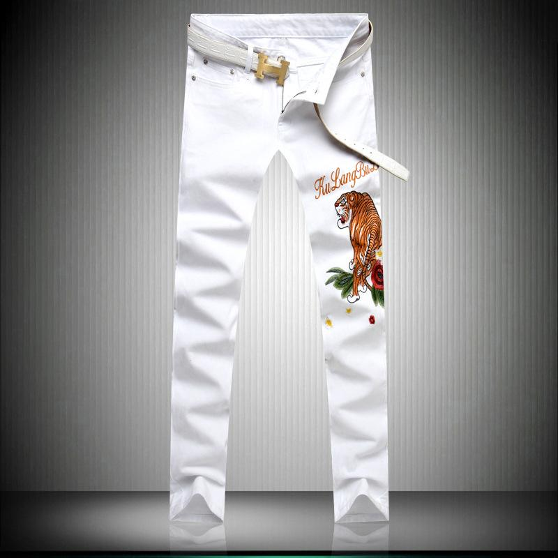 Homens jeans 2019 novos produtos Elástico Magro Maré Cartão Bordado Flores E Plantas Vento Tigre Calças Compridas