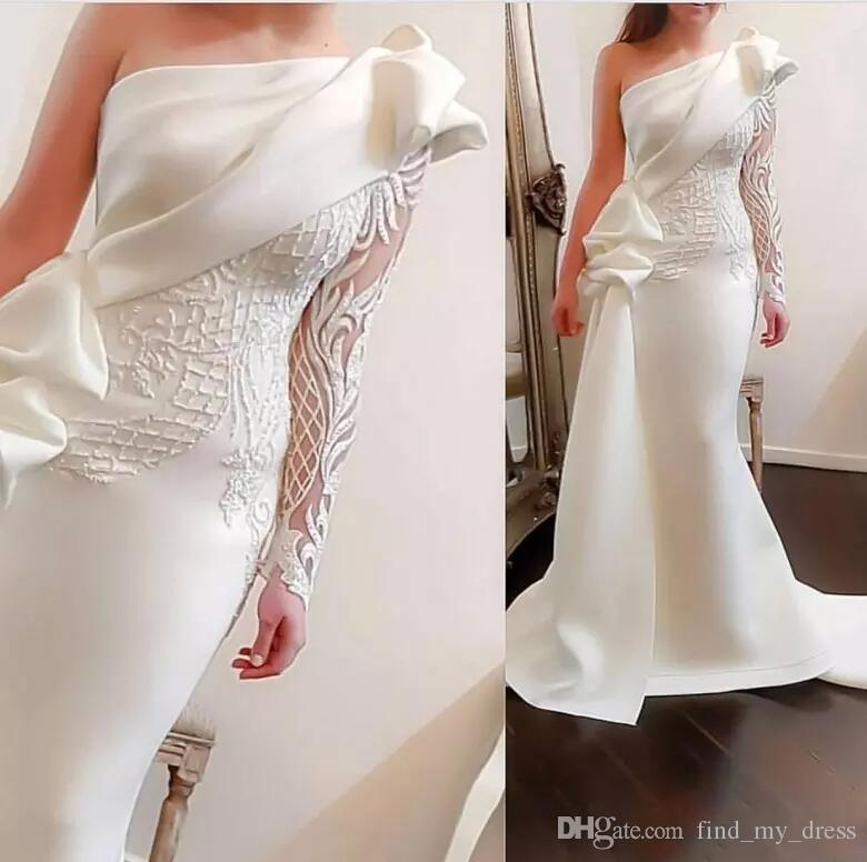 2020 Romantic One Shoulder Mermaid Long Party Prom Dresses White Long Sleeve Satin Ruched Ruffles Applique Sweep Train Formal Evening Gowns