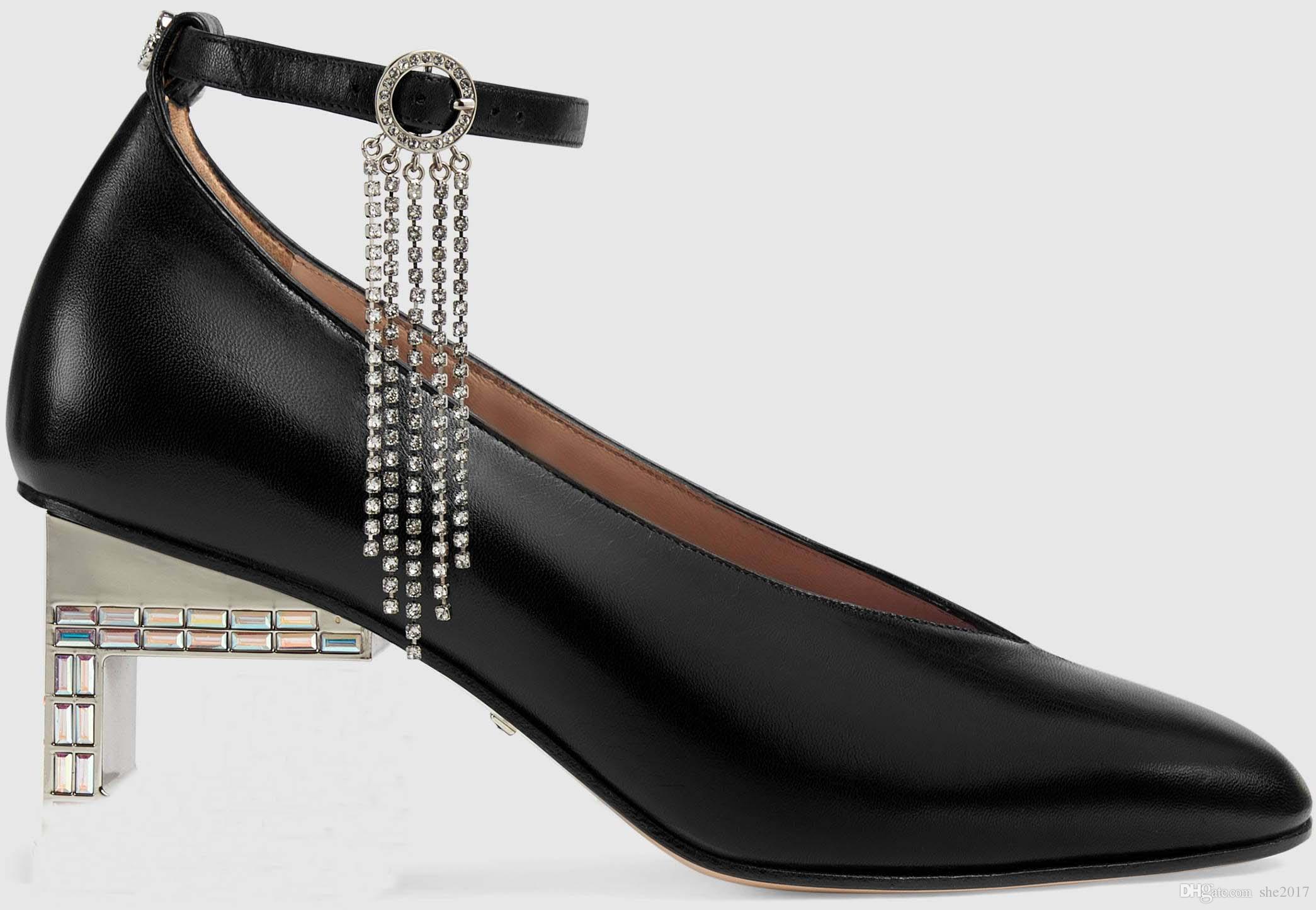 2019 yeni hakiki deri kadın ayakkabı kristal G topuk tasarım ayak bileği zapatillas sapatos femininos sapatilha zapatos mujer kadın