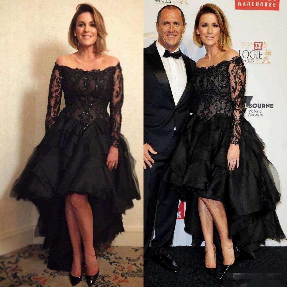 Plus Size High Low Abiti da ballo con maniche lunghe 2019 Nero Pizzo Tulle Paillettes in rilievo Off spalla Red Carpet Celebrity Evening Gown
