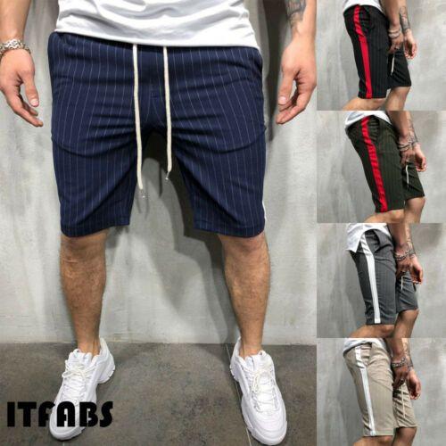 Мода Лето Мужская Slim Fit Повседневная хлопок шорты в полоску Короткие Спорт Мужчины Повседневная Полосатый шорты Летняя одежда