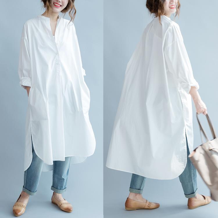 Robe chemise femme manches longues robe longue lâche asymétrique Décontracté Robe chemise femme blanc été coton plus la taille 8933