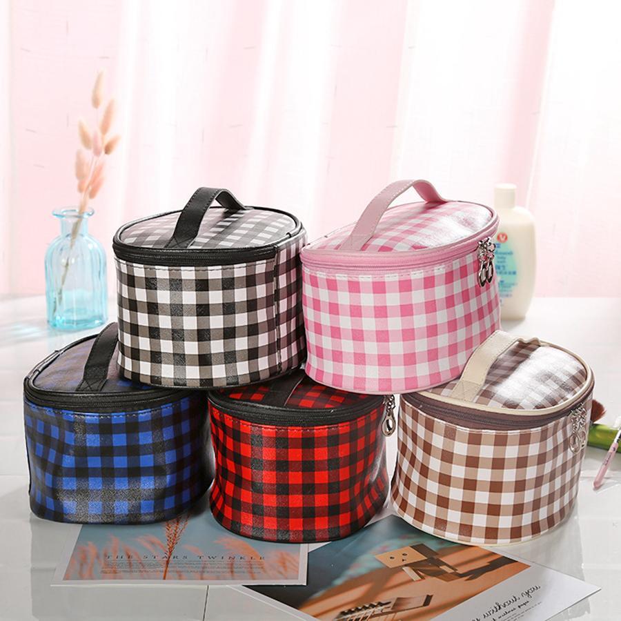 Grid Makeup Cosmetic Zipper Handbag Fashion Travel Poratble Wash Bags Handbag Multi-Function Storage Bags 5styles RRA2056