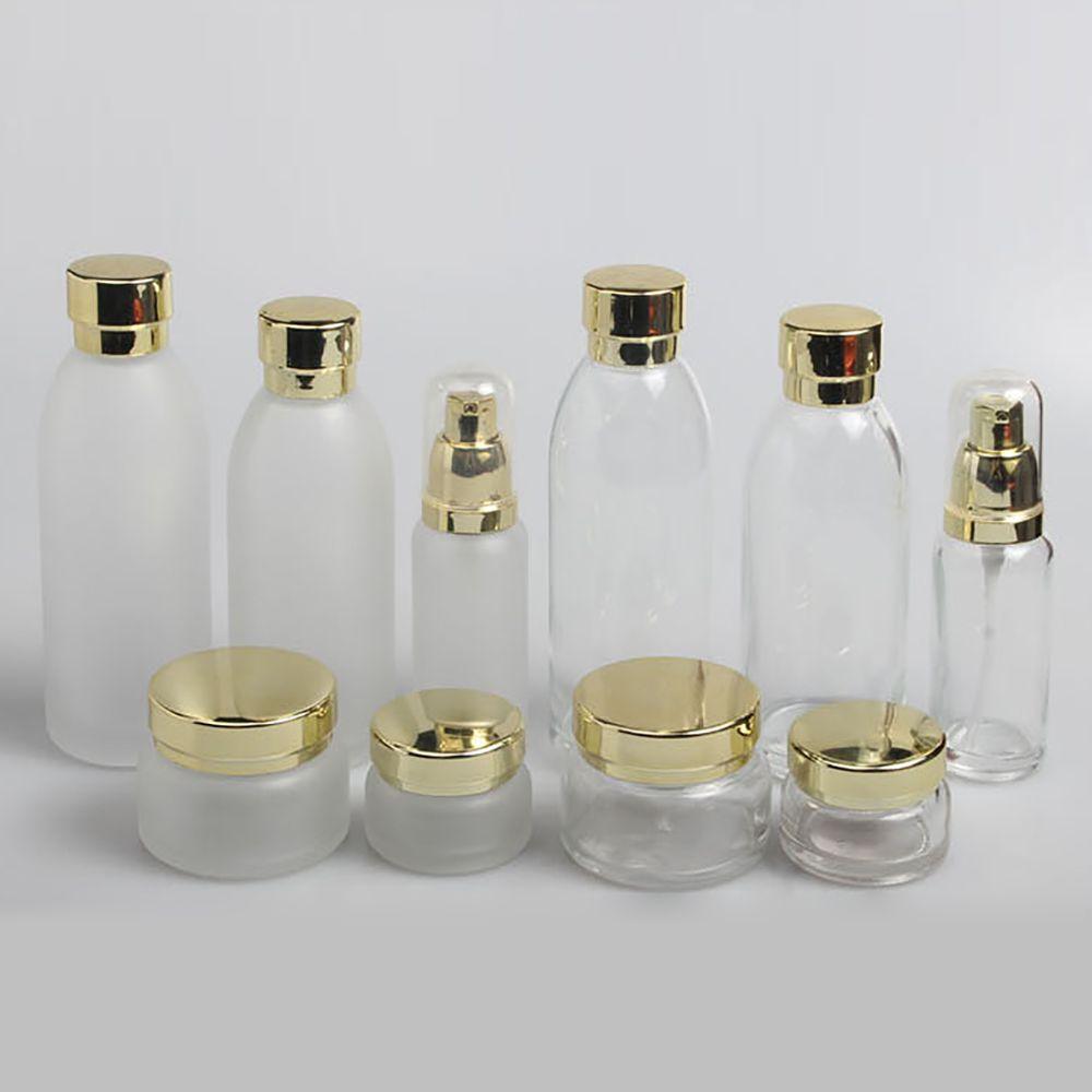 100pcs / lots givré et une bouteille de sérum cosmétique 40ml clair avec le distributeur, une bouteille en verre de 40 ml vide de la pompe à lotion