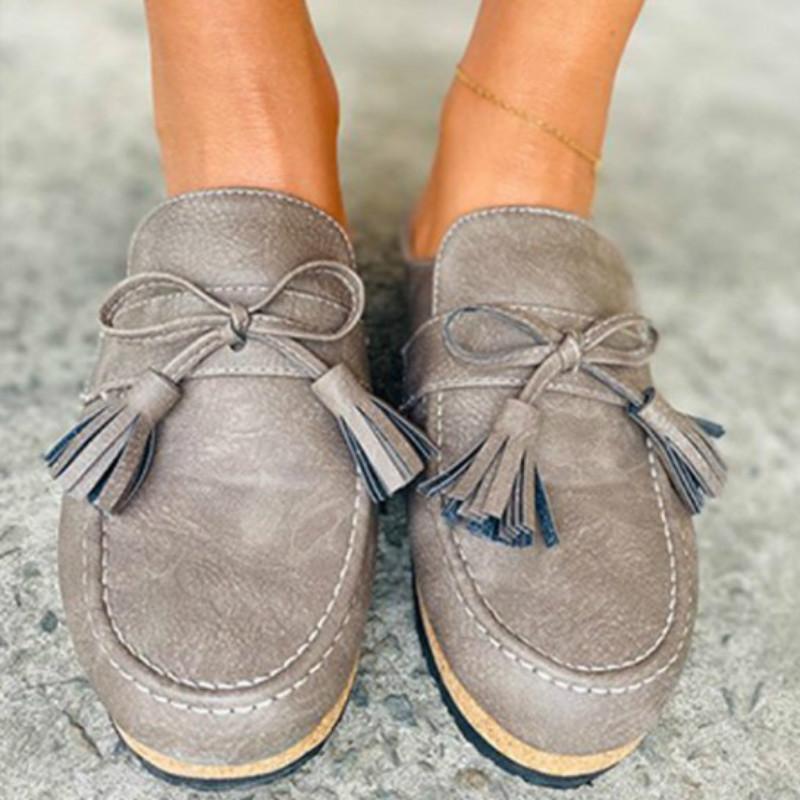 Новый Висячие Ear бездельников Женская обувь 2020 мода Wild British кисточки Flat Женская обувь Half Drag Casual