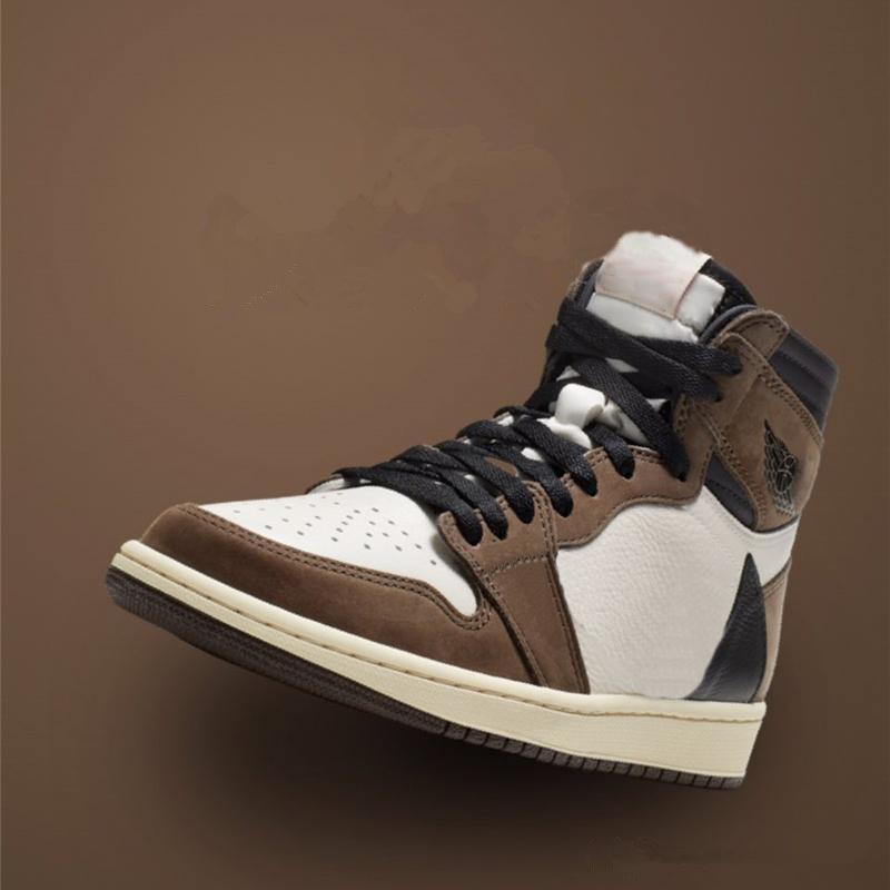 pattini del progettista 1 Alta Og Ts Sp uomini scarpe sportive Cactus Jack Suede scuro Mocha Uomini Donne Sport autentici Usciti 1s Sneakers