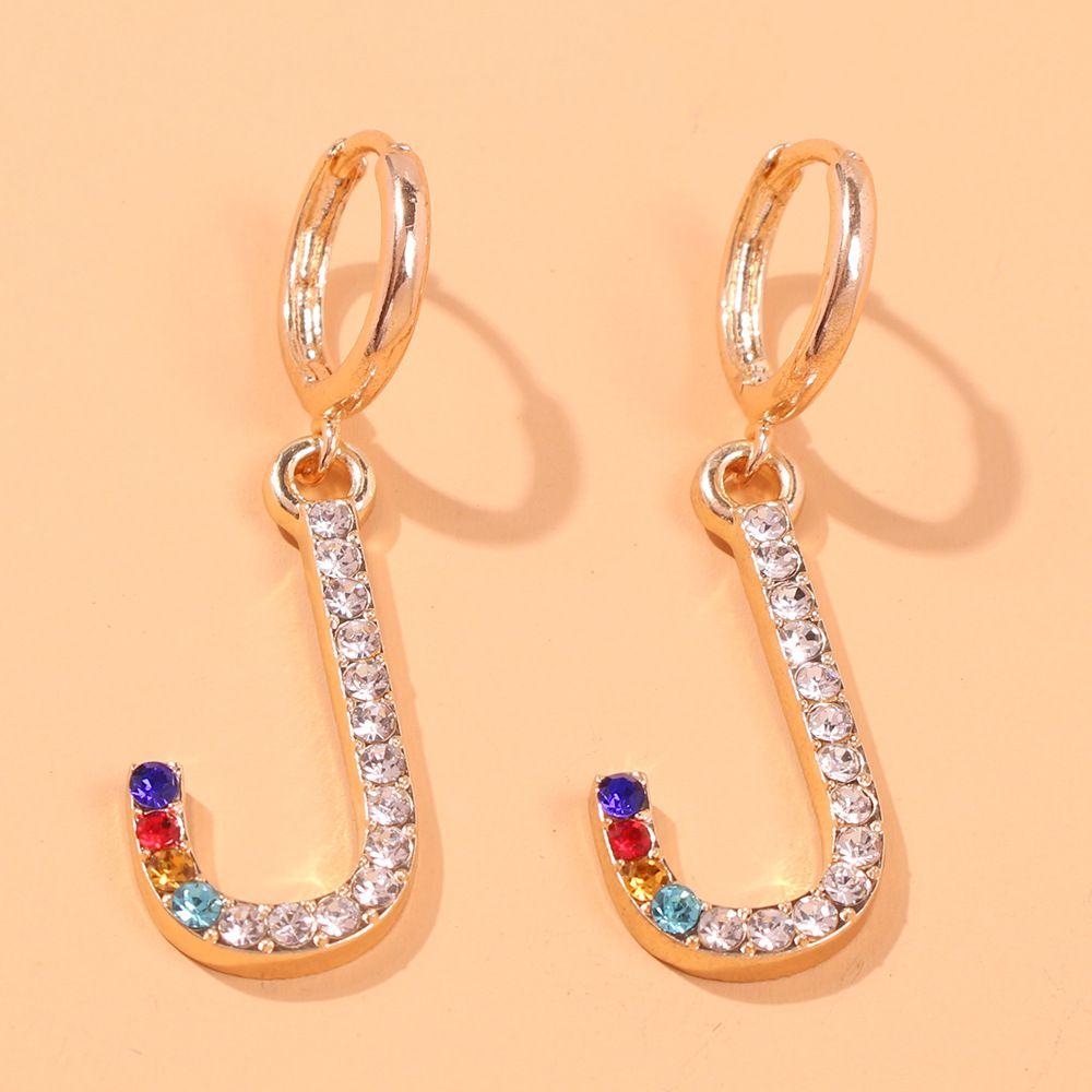 Europäische und amerikanische Art-Ohrringe New English Lettered Farbige Diamant-Ohrringe kreatives Design Alloy Diamant-Ohrringe