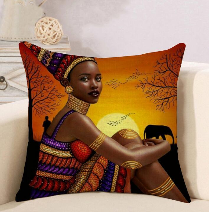 DHL 45 * 45cm Etnik Stil Tribal keten Yastık Kılıfları Dekoratif Baskı Afrika Kadınlar ev araba kanepe Yastık örtüsü nd için yastık kılıfı atmak
