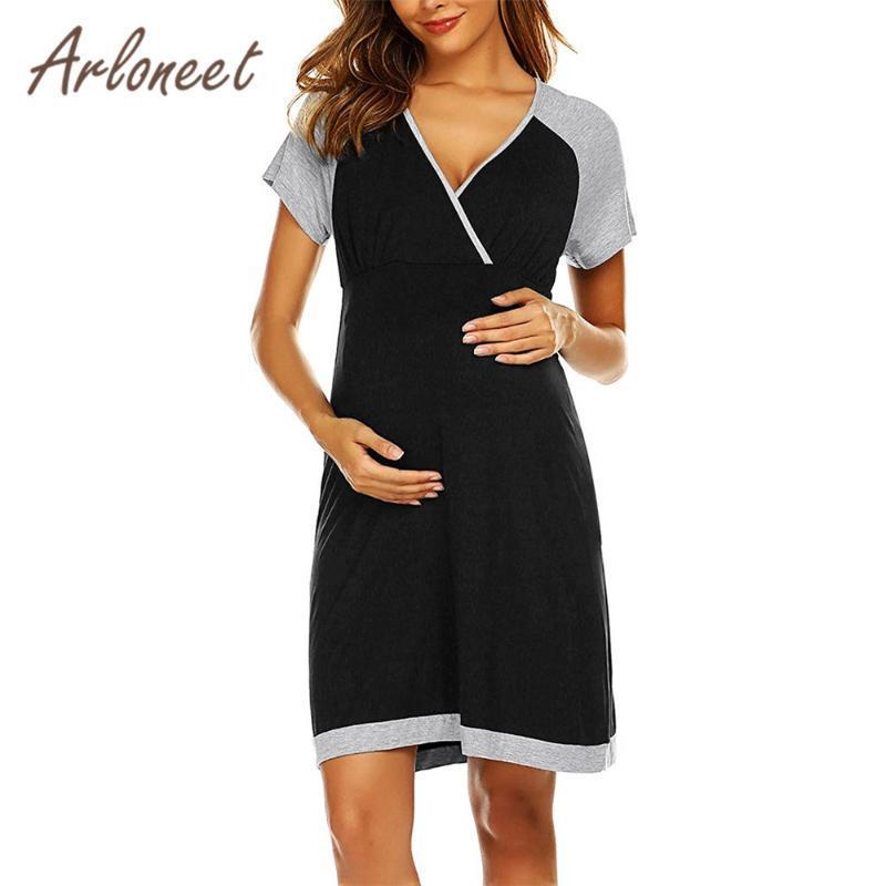 Платья для беременных Arloneet Одежда для женщин Платье с коротким рукавом Сплошное грудное вскармливание Летние Женская беременность повседневная