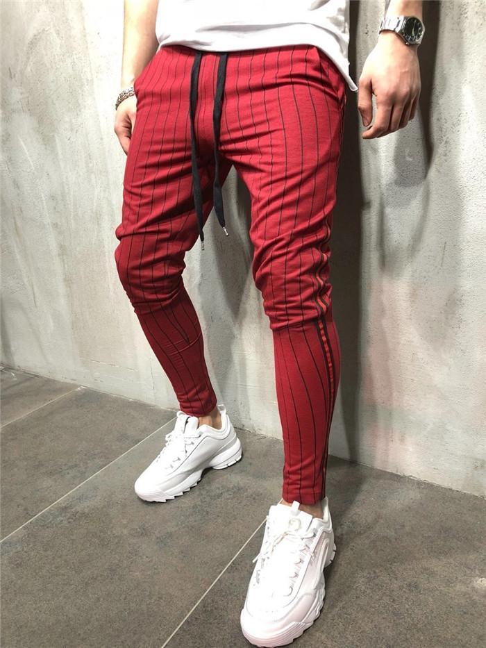 Kalem Pantolon Erkek Moda Giyim Running Erkek Spor Pantolon Sıska Spor Erkekler İpli Pantolon Nedensel Çizgili