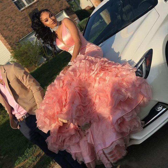 Beautiful Pink Mermaid Prom Dresses Tiered Ruffles Black Girls Sleeveless Long Party Evening Wear Gowns Custom Made Cheap