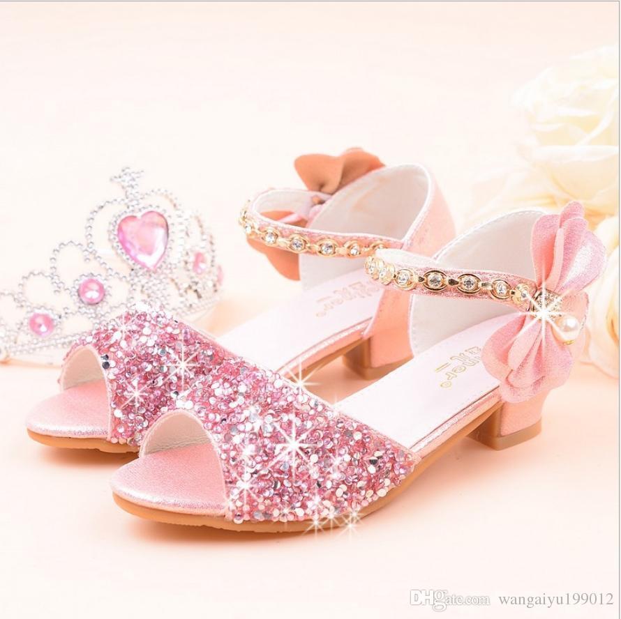 Girls princess sandals 2019 new fashion big children high heel crystal shoes student flower girl show dance shoes