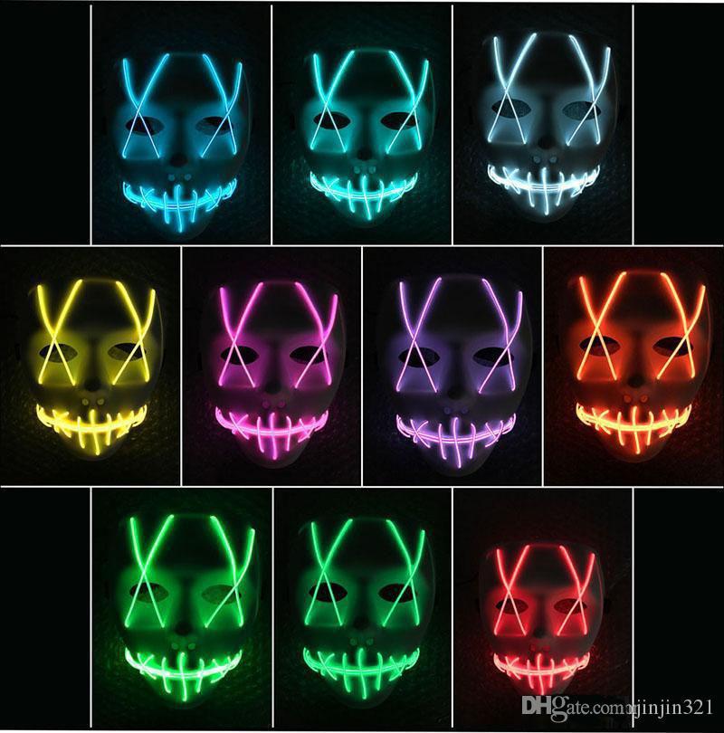 LED Maske oyuncak Komik Maske Led şerit Esnek neon burcu Işık Glow EL Halat Neon Işık Cadılar Bayramı yüz Denetleyicisi noel Işıkları