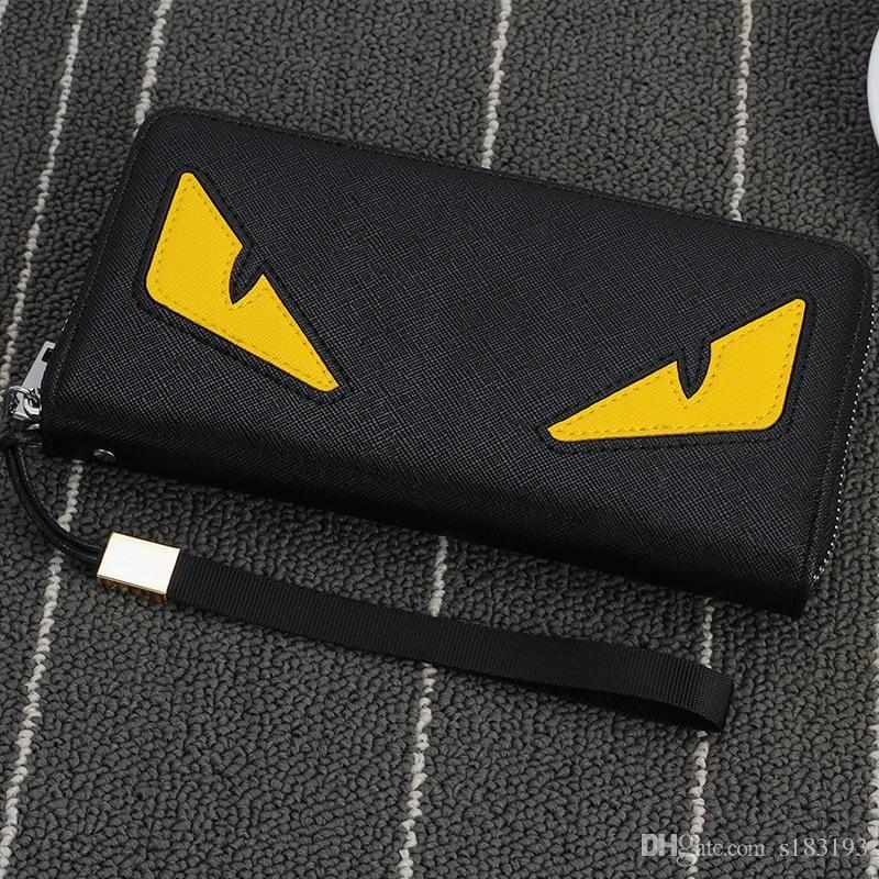 Fendi marca degli uomini cerniera portafoglio a lungo telefono frizione di modo del sacchetto di garanzia occhi di alta qualità della borsa del portafoglio della frizione trasp