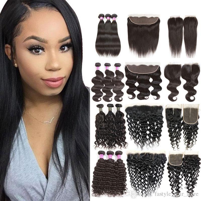 Günstige Brazilian Virgin Hair 3 Bundles mit Closure peruanischen verworrenem lockigem Menschenhaar Weaves Bundles mit Frontal Raw Indian Hair Extensions