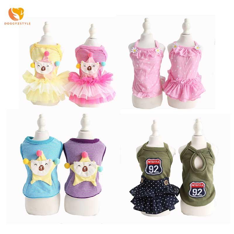 Summer Striped Dogs Vest Sling Pet Dog Floral Dress Cool Mesh Skirt Couple Wear Costume XS S M L XL DOGGYZSTYLE