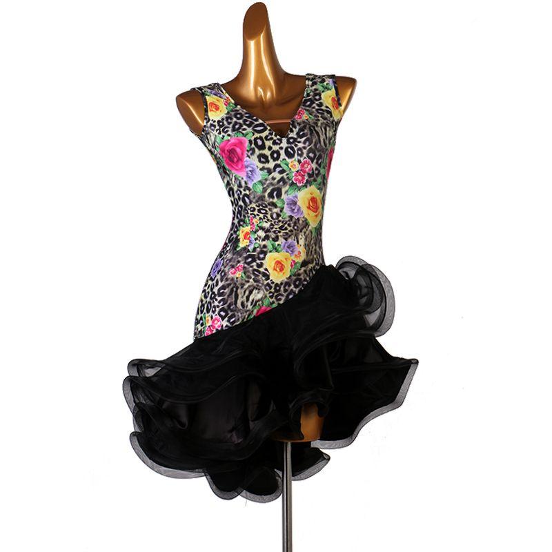 vestito donne latine vestito ragazze latine competizione vestito da ballo latino veste LQ014 fiore della stampa