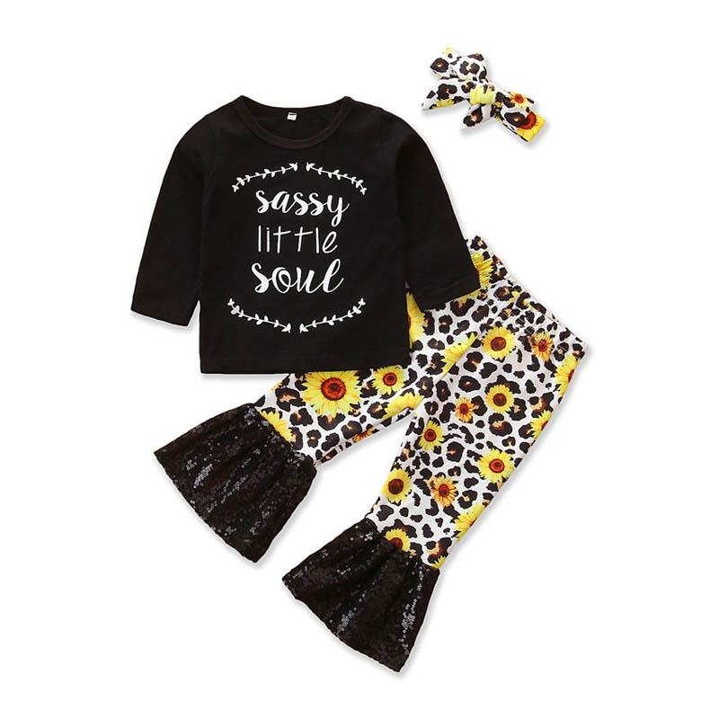 INS baby girl clothes baby girls suits newborn outfits long sleeve t shirt+sequin flared trousers +headband 3pcs toddler girl clothes A8561