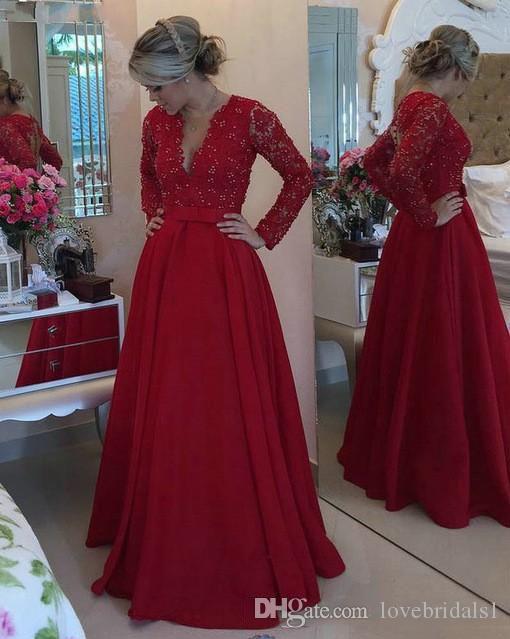 Red Charming A linha de vestidos de mães com mangas compridas Sexy profunda V Neck Satin Lace Appliqued Custom Made Evening Formal usa