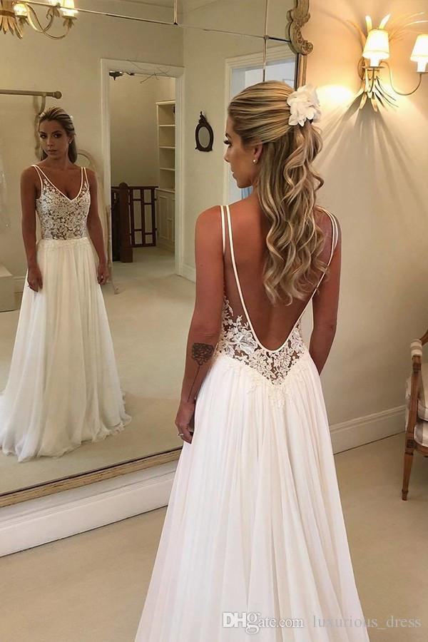 Discount Plus Size Beach Wedding Dresses A Line Sheer Bateau Neck  Sweetheart Lace Top Bridal Gowns White Nude Cheap High Quality Brides Gowns  Halter ...