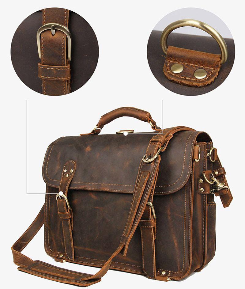 Vintage crazy horse Leder Aktentasche 16 Stück echtes Leder laptop rucksack Echtes Leder business Tasche Große Reisetasche für Mann