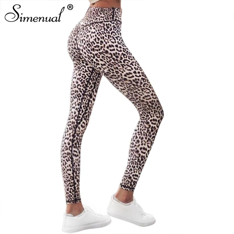 Simenual Harajuku yüksek bel leopar tozluk kadın spor giyim spor giyim 2018 athleisure seksi legging activewear