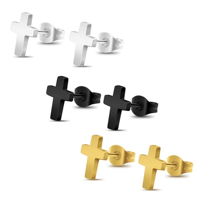 Edelstahl-Kreuz-Ohrringe arbeiten Puink Rock-Schmuck-Geschenk Mini Kreuz Ohrstecker für Männer Frauen