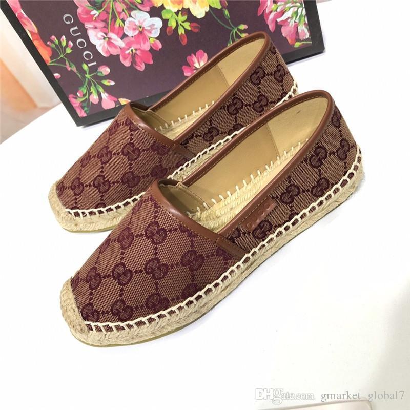 أحذية ساخنة المرأة سترو قماش قماش espadrille فاخر مصمم الأزياء والأحذية المسطحة الأحذية النسائية عارضة مع مربع