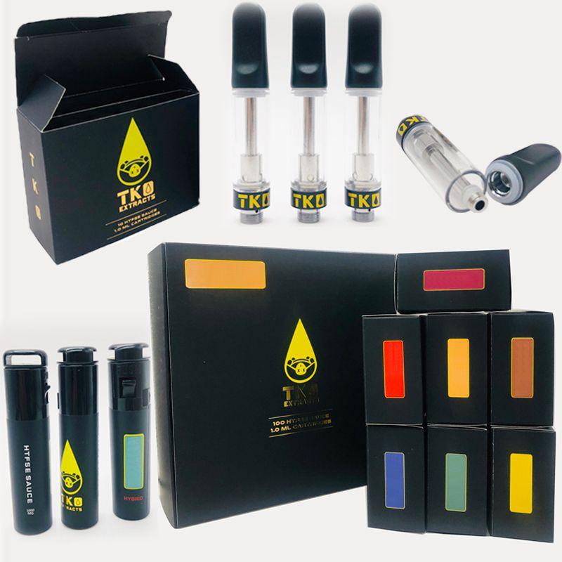 Schwarz TKO Extrakte Vape Patronen 0,8 ml Vape Pens 510 Ceramic Oil Patronen E-Zigaretten Vaporizer Carts Glasbehälter mit leeren Verpackung