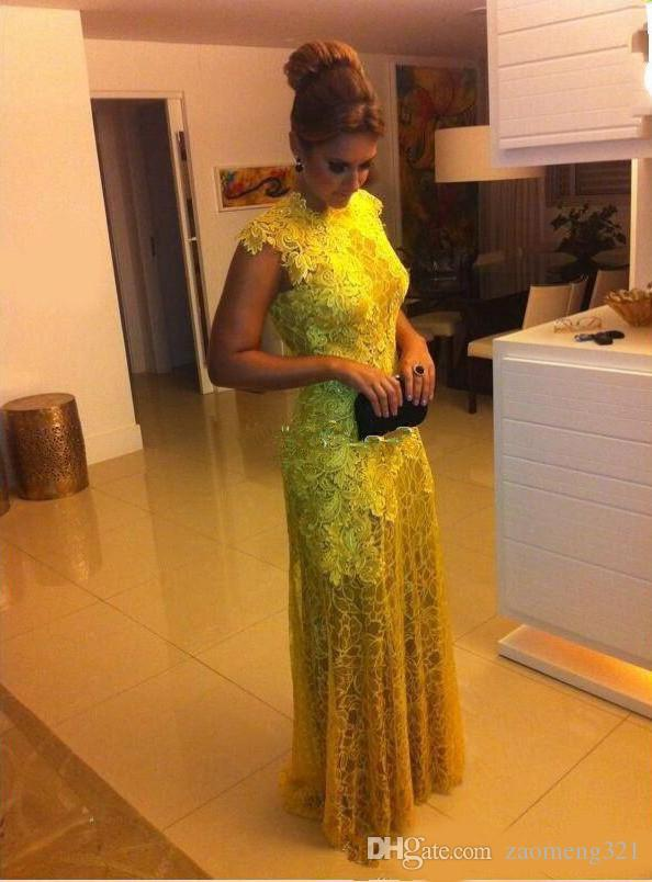 Yellow Lace Mermaid Prom Dresses Backless Floor Length Long Formal Evening Party Gowns Special Occasion Dress vestidos de fiesta