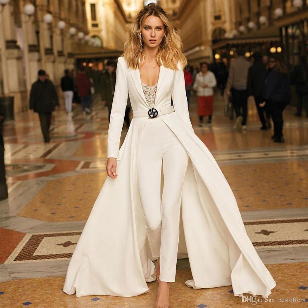 Moderne weiße Overalls Arabisch 2019 Abendkleider mit Jacke Langarm Satin Abendkleid ohne Schärpe