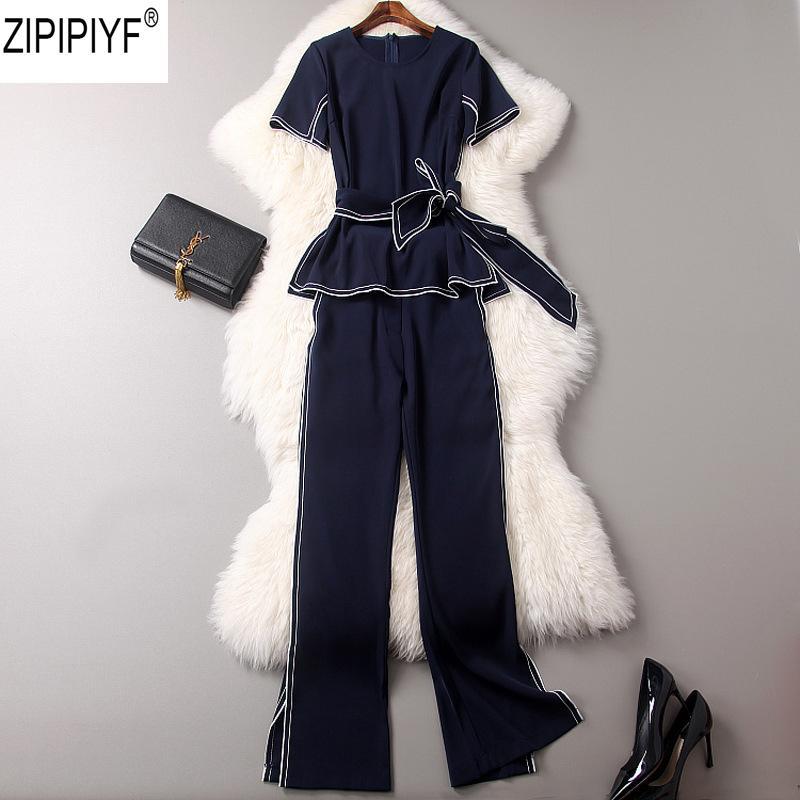 Pantalones de moda de alta calidad para mujer Camiseta de manga corta con tobillo-longitud pantalones de pierna ancha 2018 ropa de verano C1476