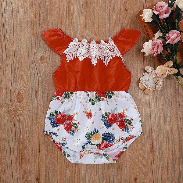 5488 Summer Infant bebés de los mamelucos de la manga corta del remiendo Florals Onesies niños pequeños dulces subida de la ropa de los mamelucos del niño