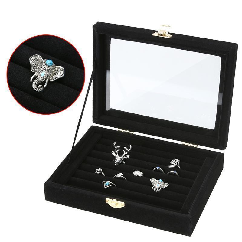 Jocestyle New Hot Velvet Jewelry Contenitore di Monili Jewelry Organizer Display Storage Glass Cover Holder Rack Per Anello Orecchino C19021601
