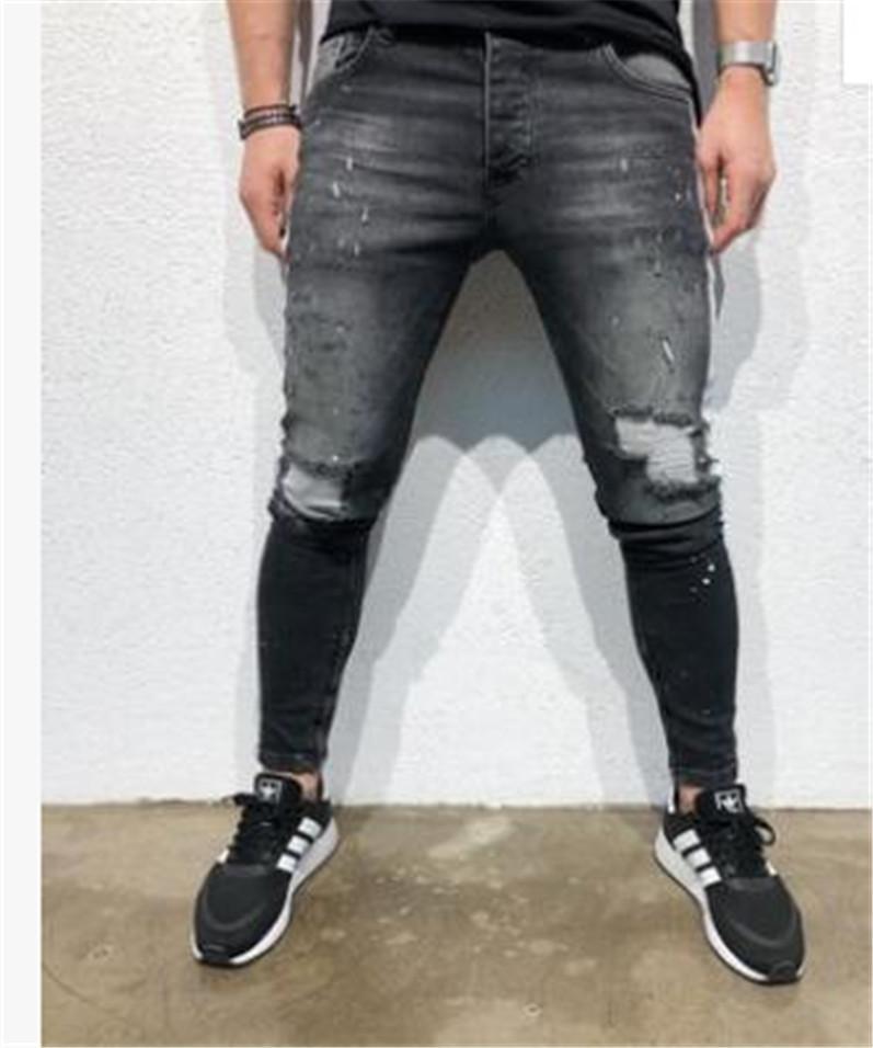 Street Style Мужские дизайнерские Жан штаны рваные дыры Черные Проблемные Slim Fit джинсы Длинные брюки Кожа да кости стрит