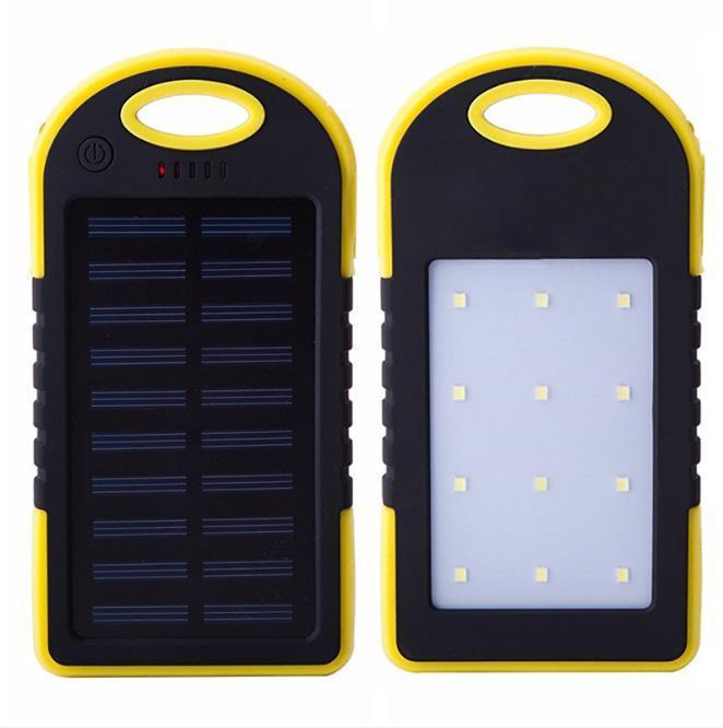 شاحن مقاوم للماء بنك الطاقة الشمسية المحمولة للهاتف كامل 6000mAh مع ضوء LED مع حزمة البيع بالتجزئة