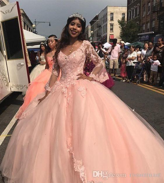 Designer rosa della pesca Quinceanera Abiti Plus Size brillante palla abito a maniche lunghe in pizzo cinderella di promenade del partito di Miss Pageant poco costoso Sweet 15 Dress