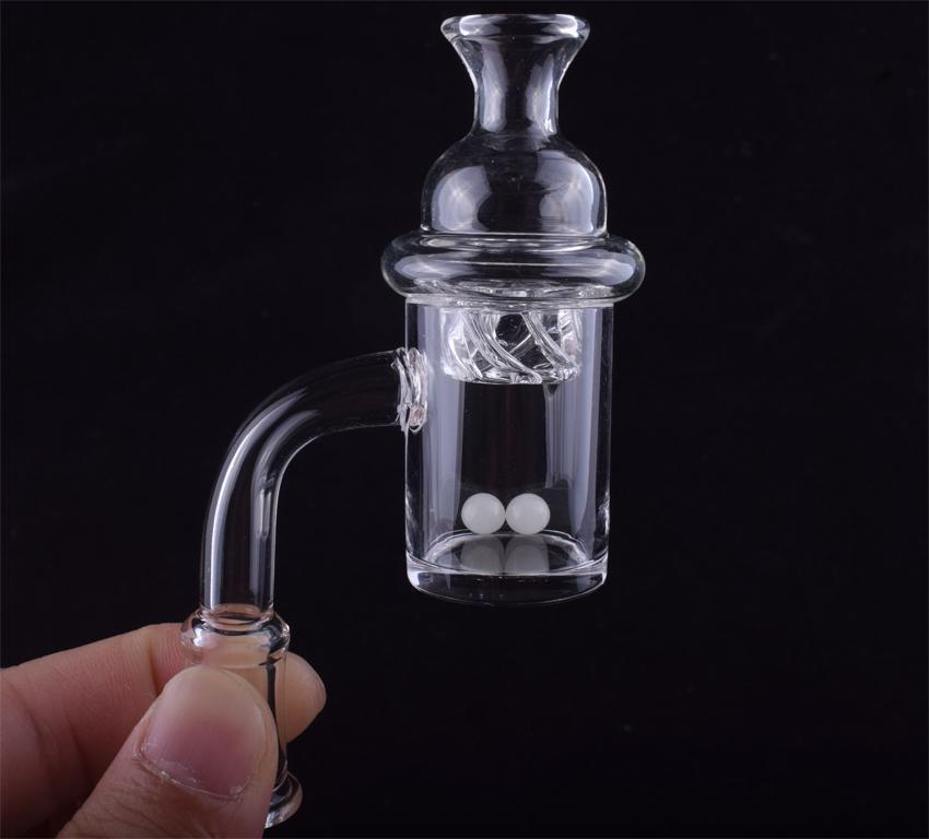 25 milímetros OD Flat Top Quartz Banger prego 4 milímetros inferior com giro Cap Carb e Terp pérola para o vidro de óleo Dab Rigs