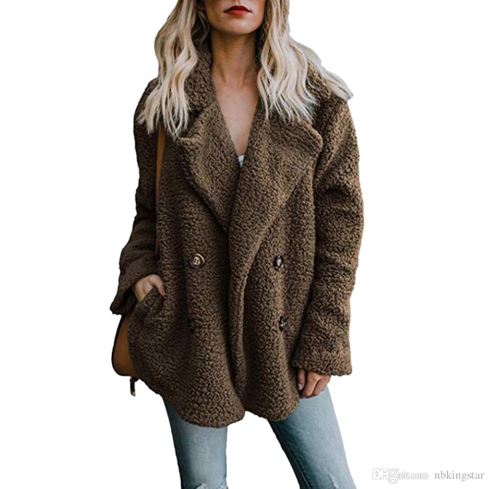 المرأة التلبيب الستر معطف الشتاء النساء الصوف مزيج بالأزرار معطف دافئ البلوز الصوف فو الفراء أفخم معطف هوديي زائد الحجم