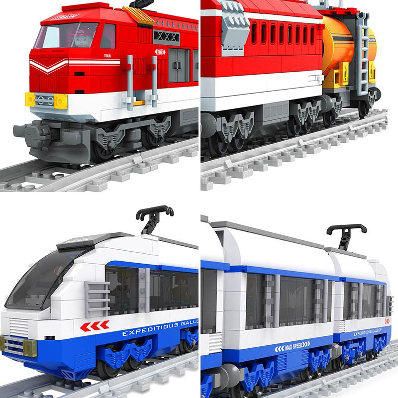 Ausini City Train Wagon Cargo Carriage Passenger Train Station Rail Tracks Locomotive Compatible Legoing Building Blocks Toys