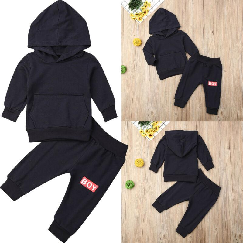 2PCS Newborn Baby Kids Boy Hooded Tops Blouse+Pants Tracksuit Outfits Clothes US