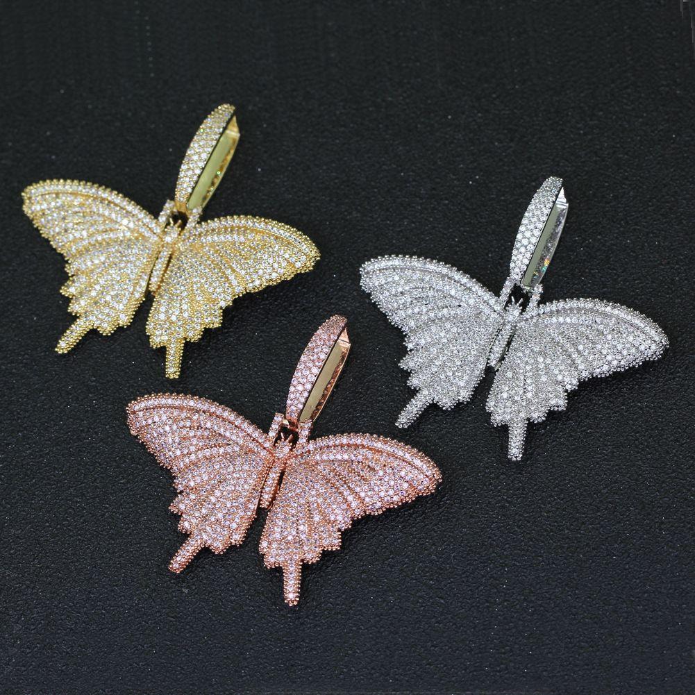 الحيوان الوردي فراشة قلادة قلادة مع سلسلة Rosegold الذهب الفضة مكعب الزركون الرجال النساء الهيب هوب روك مجوهرات