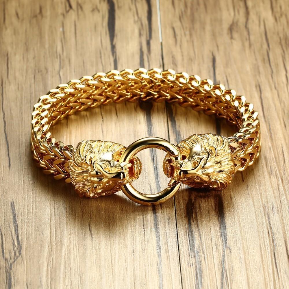 Античная двойная голова льва елочка браслет для мужчин из нержавеющей стали золотой тон хип-хоп панк мужчины ювелирные изделия 22.5 см T190702